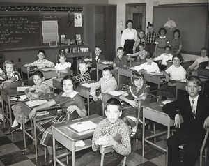 Hoover School 1955.jpg1st road bottom to top 2nd girl, sue Willer 2nd row Drew Stohl (in Suit) Janet Kunz 3rd row 4th boy in suit Frank Folitico Standing Mrs Radburn, 2nd boy John Gloistein