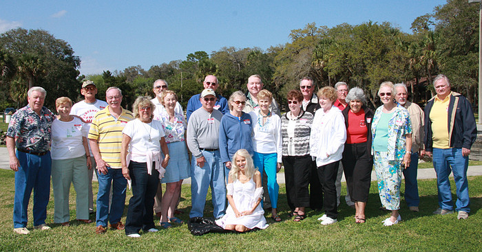 52-1 The class of 1956 held its 52nd Reunion on Monday, March 10, 2008 at Bing's Landing a county park on Route A1A just north of Palm Coast, Fl. It was an all day catered affair from 10AM to 6PM arranged by Arlene. Many stayed at Sleep Inn so we had time the night before & the evening of the reunion to chat.  Most of us walked next door to Cracker Barrel restaurant for a snack both nights. Monday & Tuesday mornings we enjoyed a free breakfast in the lobby, more time to reminisce. Some stayed an additional day to visit nearby St. Augustine.