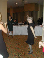 Alrene Terry dancing the night away, Joyce Klie in background