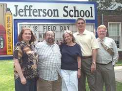 Barbara, Joe, Beth, Bill with Principal Beattie at Jefferson School